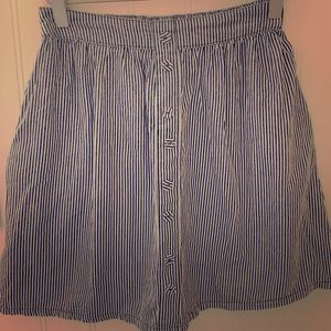 Skater striped denim skirt